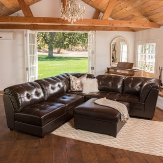 Christopher Knight Home Regen Espresso Tufted Leather Sectional Sofa Set
