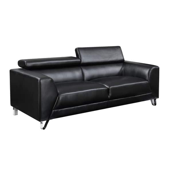 Shop Faux-Leather Contemporary Sofa with Chrome Legs - Free ...
