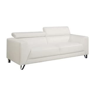 Faux Leather Contemporary Sofa With Chrome Legs