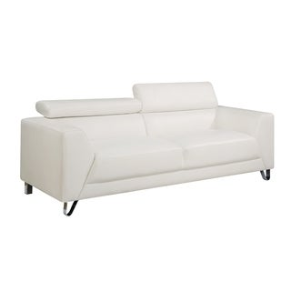 Delicieux Faux Leather Contemporary Sofa With Chrome Legs