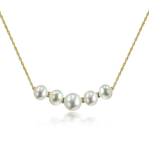d8ea319b689a8 DaVonna 14k Yellow Gold Beads and Rope Chains Necklace with White 9-12mm  Graduated Freshwater Pearls