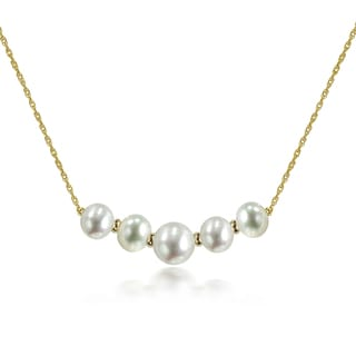 DaVonna 14k Yellow Gold Beads and Rope Chains Necklace with White 9-12mm Graduated Freshwater Pearls
