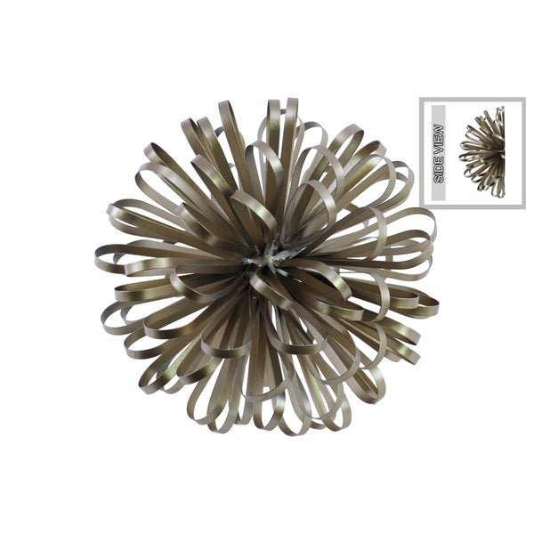 Champagne Metal Ball Of Looped Ribbon Sculpture Wall Decor