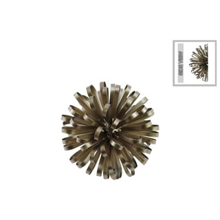 Urban Trends Collection Sculptural Metal Ball of Looped Ribbon Champagne Finish Electroplated Wall Decor