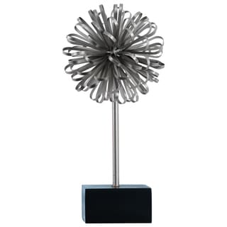 Electroplated Silver Finish Metal Ball of Looped Ribbon Sculpture with Square Stand
