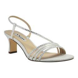 Women's Nina Gerri Strappy Slingback Sandal Silver Metallic Faux Suede