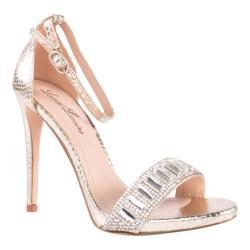 Women's Lauren Lorraine Ari Ankle Strap Sandal Gold Fabric/Polyurethane