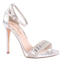 Women's Lauren Lorraine Ari Ankle Strap Sandal Silver Fabric/Polyurethane