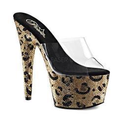 Women's Pleaser Bejeweled 701LP Platform Slide Clear PVC/Gold/Black