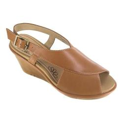 Women's White Mountain Barbershop Wedge Sandal Tan Leather