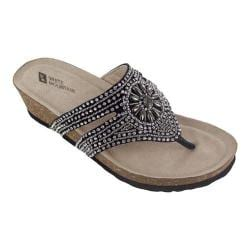 Women's White Mountain Busy Thong Black Suede/Silver Beading