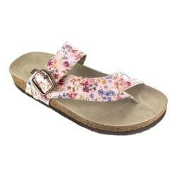Women's White Mountain Carly Thong Sandal Light Pink Floral Leather