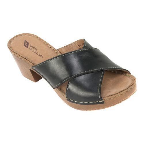 Women's White Mountain Moon Slide Black Leather
