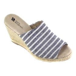 Women's White Mountain Catori Wedge Slide Black Striped Fabric