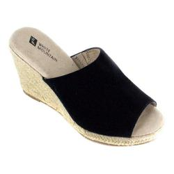 Women's White Mountain Catori Wedge Slide Black Suede