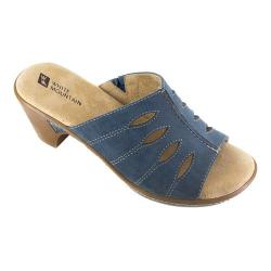 Women's White Mountain Gessie Open-Toe Clog Blue Leather