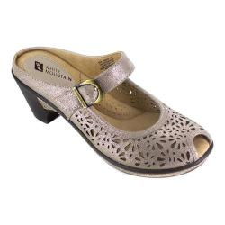 Women's White Mountain Gilding Peep-Toe Clog Platinum Leather