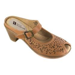 Women's White Mountain Gilding Peep-Toe Clog Tan Leather