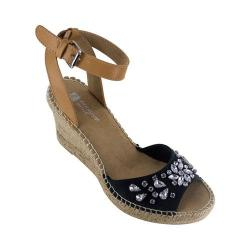 Women's White Mountain Lavish Espadrille Sandal Black Fabric