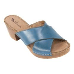 Women's White Mountain Moon Slide Blue Leather