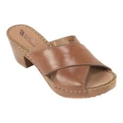 Women's White Mountain Moon Slide Brown Leather