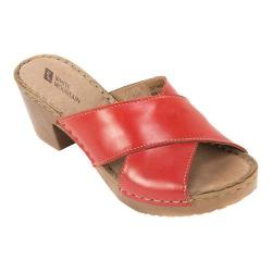 Women's White Mountain Moon Slide Red Leather
