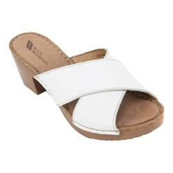 Women's White Mountain Moon Slide White Leather