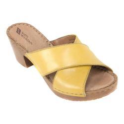 Women's White Mountain Moon Slide Yellow Leather