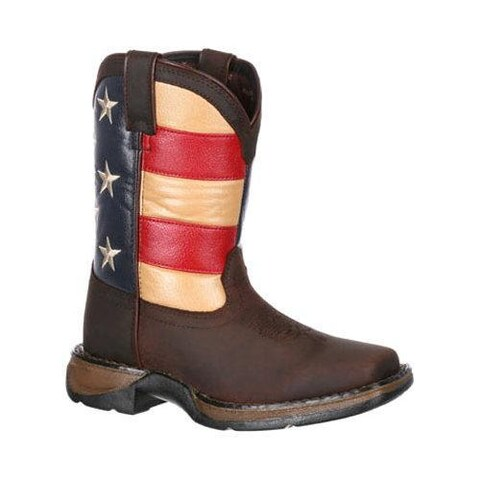 Children's Durango Boot DBT0159 8in Lil' Rebel Boot Brown/Union Flag Leather/Faux Leather