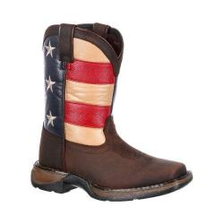 Children's Durango Boot DBT0160 8in Lil' Rebel Boot Brown/Union Flag Leather/Faux Leather