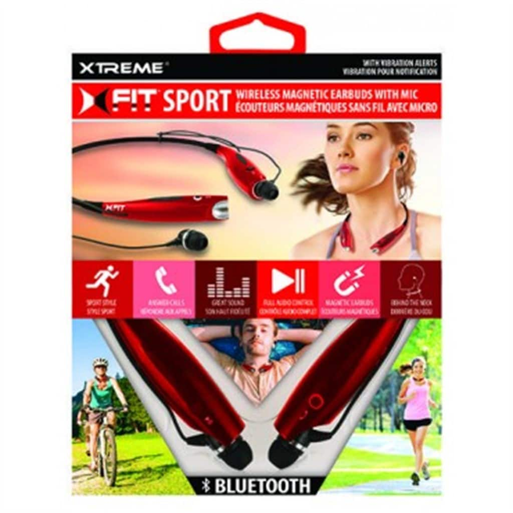 Xtreme XFit Sport Red Neckband Bluetooth Magnetic Earbuds with Microphone