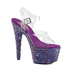 Women's Pleaser Bejeweled 708MS Ankle Strap Sandal Clear PVC/Purple Multi Rhinestone