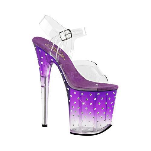 Women's Pleaser Stardust 808T Ankle-Strap Sandal Clear PVC/Purple