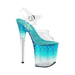 Women's Pleaser Stardust 808T Ankle-Strap Sandal Clear PVC/Teal/Clear
