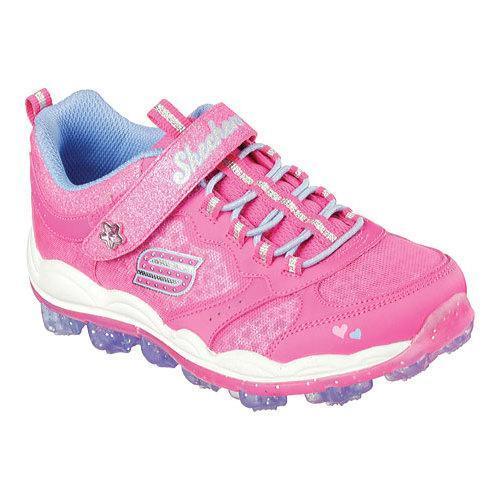 Skechers Kids Girls' Skech-Air Stardust Running Shoe, Stardust Silver, 6 M US Toddler