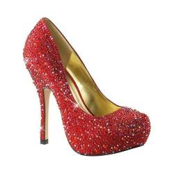 Women's Fabulicious Felicity 20 Pump Red Satin