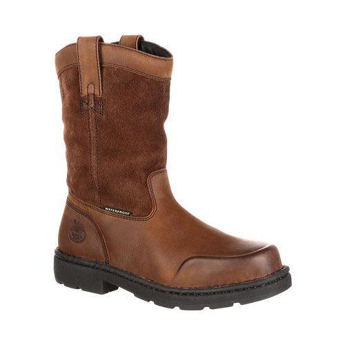 f495ab99e1b Men's Georgia Boot GB00093 10in EL Wellington Waterproof Work Boot Brown  Full Grain Leather