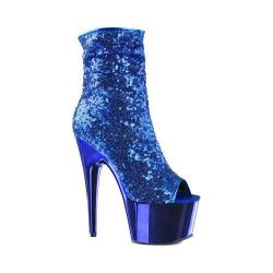 Women's Pleaser Adore 1008SQ Ankle Boot Blue Sequins/Blue Chrome