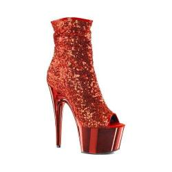 Women's Pleaser Adore 1008SQ Ankle Boot Red Sequins/Red Chrome