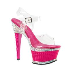 Women's Pleaser Illusion 658RS Ankle-Strap Sandal Clear PVC/Hot Pink