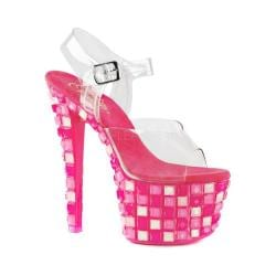 Women's Pleaser Sky 308UVTL Ankle-Strap Sandal Clear PVC/Neon Hot Pink