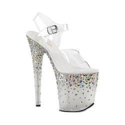 Women's Pleaser Starsplash 808 Ankle-Strap Sandal Clear PVC/Frost/Silver Hologram Stars