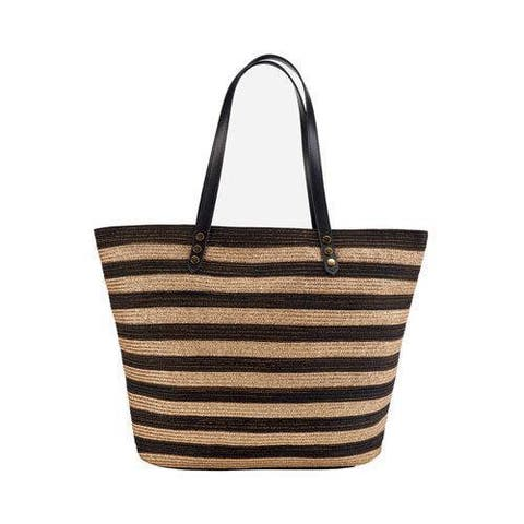 Women's San Diego Hat Company Gold Stripe Polyester Braid Tote BSB1558 Black