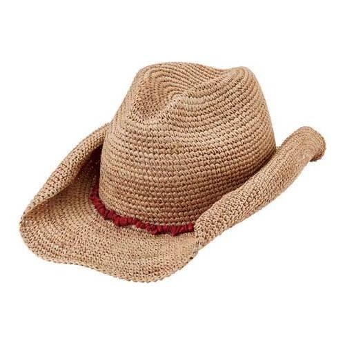 2d3a21cdb1fbe0 Shop Women's San Diego Hat Company Raffia Cowboy Hat RHC1074 Natural/Coral  - Free Shipping Today - Overstock - 12028658