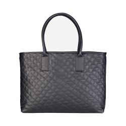 Women's San Diego Hat Company Faux Leather Quilted Tote BSB1551 Black