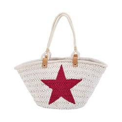 Women's San Diego Hat Company Painted Star Tote BSB1559 White