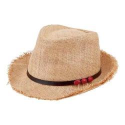 Women's San Diego Hat Company Raffia Fedora RHF6110 Natural/Coral