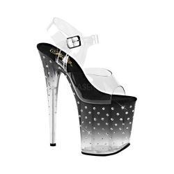 Women's Pleaser Stardust 808T Ankle-Strap Sandal Clear PVC/Black/Clear