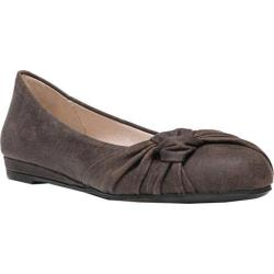 Women's Fergalicious Sloane Ballerina Flat Dark Brown Synthetic Suede