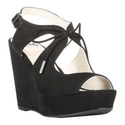 Women's Fergalicious Vicky Wedge Sandal Black Synthetic Suede